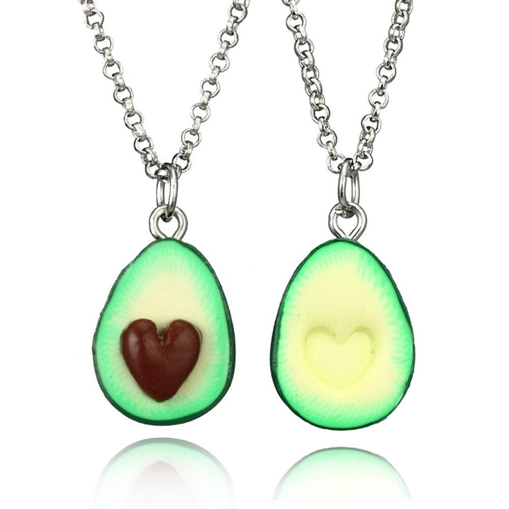 2 Pack Cute Avocado Pendant Necklace Women Charm Fruit Jewelry Best Friends (Necklaces)