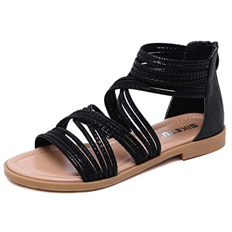 ea9176a5 Image Unavailable. Image not available for. Color: Women Low Heel Flat Gladiator  Sandals,Retro Cross Tie Zipper Cover Heel Casual Summer Beach