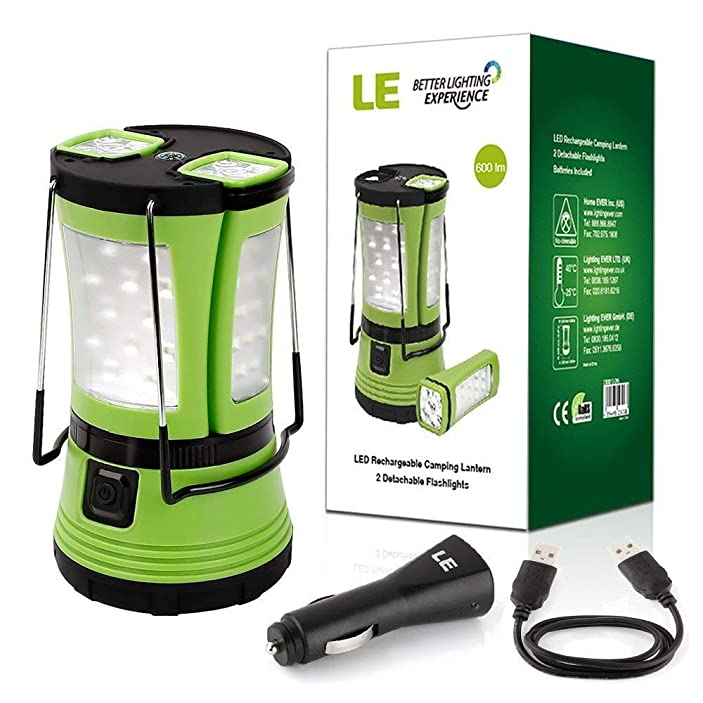 LE LED Camping Lantern Rechargeable, 600LM, Detachable Flashlight, Perfect Lantern Flashlight for Hurricane Emergency, Hiking, Fishing and More