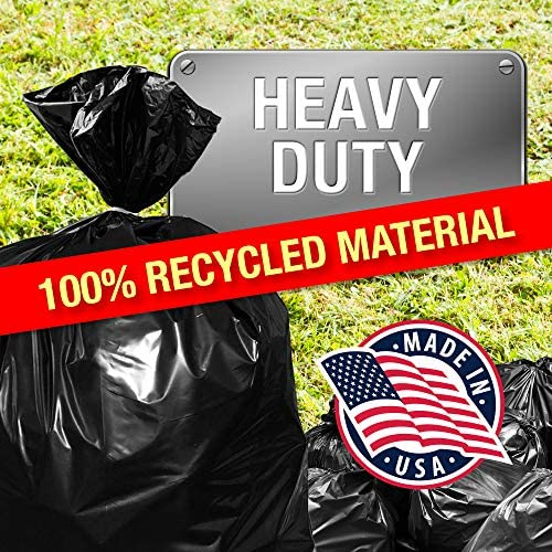 """100Pk Heavy Duty Black Trash Bags – 95 Gallon Garbage Can Liner for Garbage, Storage, Yard Waste, Construction and Commercial Use - 1.5 Mil Thick 61 x 68 with 30"""" Rubber Bands by Tougher Goods"""
