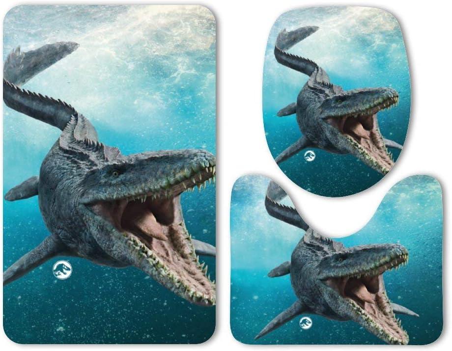 Jurassic World Mosasaurus Absorbent Memory Foam Soft Shower Bath Rugs Contour Mat and Lid Cover,Non Slip Velvet Bathrug,Shower Toilet Bathmats Carpet Yilooom 3 Pack Bath Mat Set
