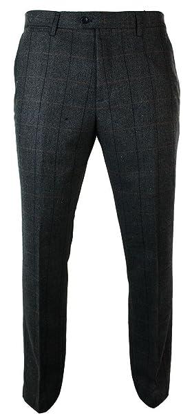 Pantaloni Eleganti da Uomo in Tweed Vintage Blu Scuro a Scacchi blu scuro  44UK ab5fd0521f3