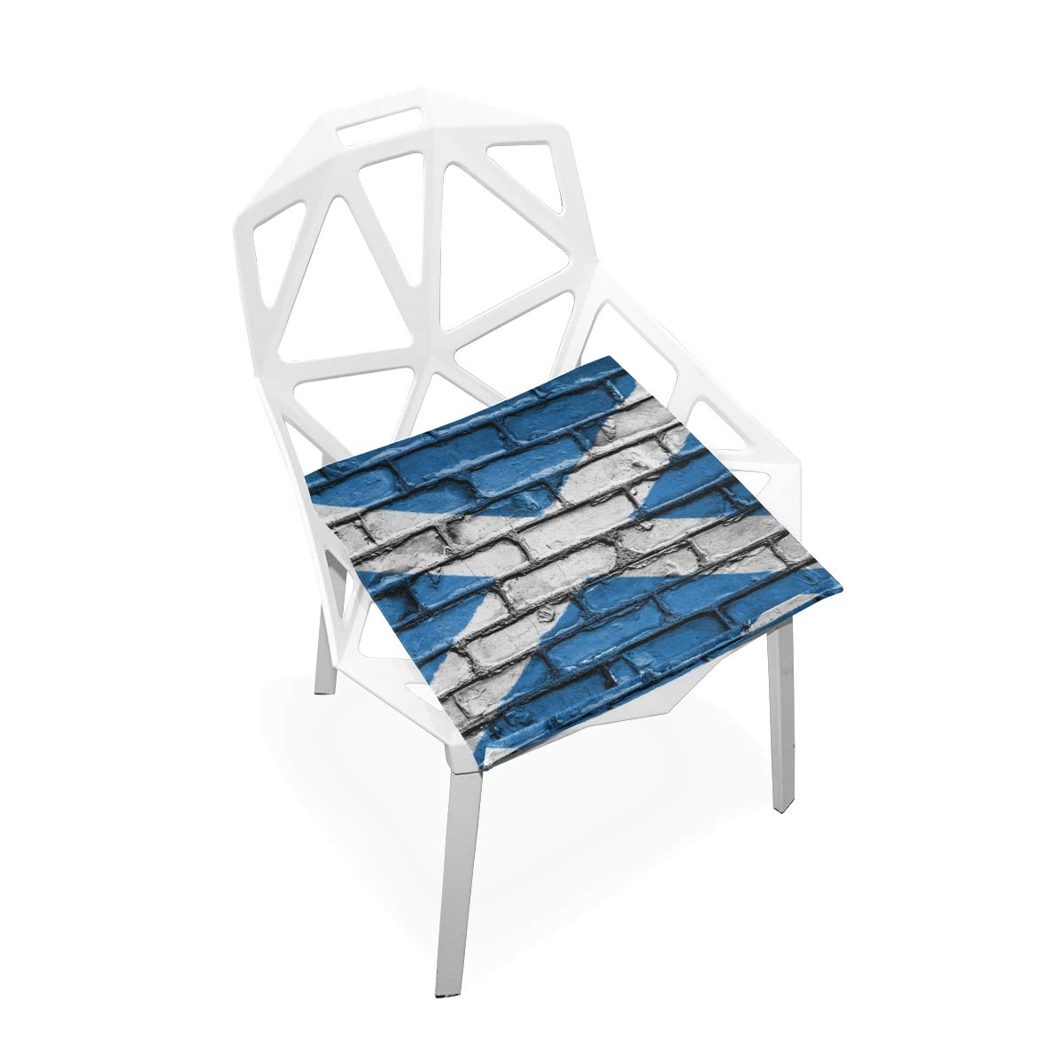 TSWEETHOME Comfort Memory Foam Square Chair Cushion Seat Cushion with Scotland Flag Brick Wall Chair Pads for Floors Dining Office Chairs