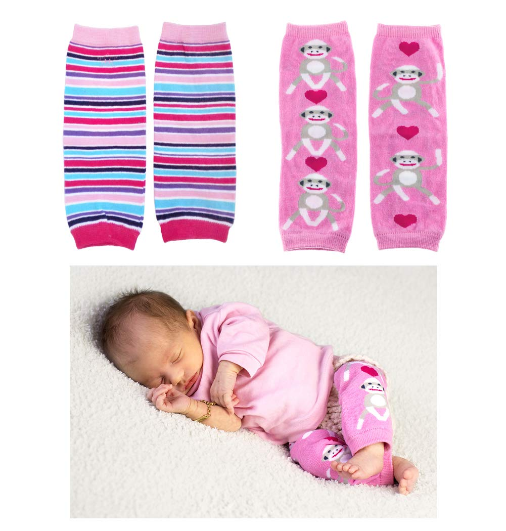 Huggalugs 2 Pack Baby Girl Leg Warmers Sugar Stripe and Pink Sock Monkey by Huggalugs