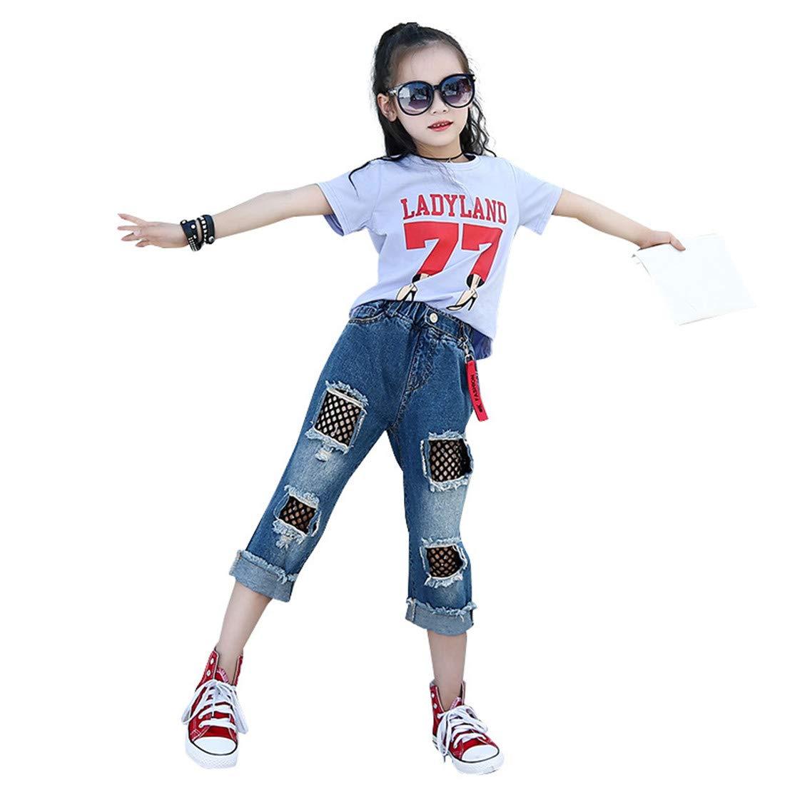 MV New Summer Girls Cotton T-Shirt Bottoming Shirt Hole Black Net Denim Trousers