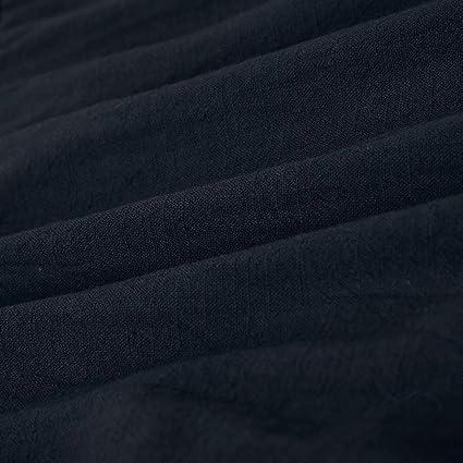 TEELONG Damska V-Ausschnitt kleidtshirt Hemd Ärmel Knopf Casual und Abend Minikleid: Odzież
