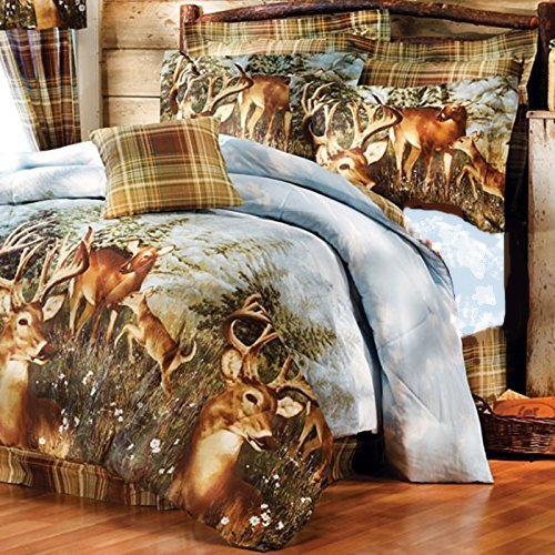 8pc Whitetail Deer Trophy Buck Comforter, Sheets, King Pillow Shams & Bedskirt Set (Bed in a Bag) (8pc King Size)