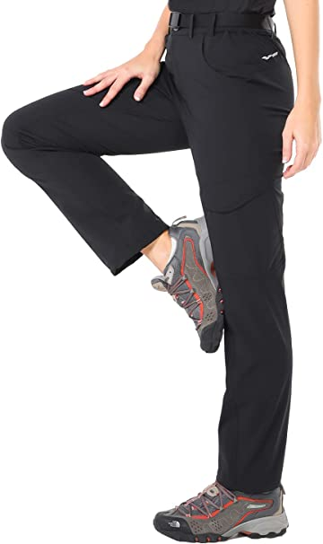 MIER Womens Quick Dry Convertible Cargo Pants Lightweight Stretchy Hiking Travel Pants Water Resistant 5 Zip Pockets
