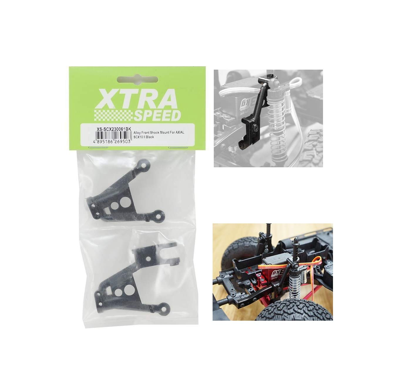 Pair OEM SCX-0230061-BK Xtra Speed SCX-10 II Aluminum Front Shock Hoops Black Quick Arrive