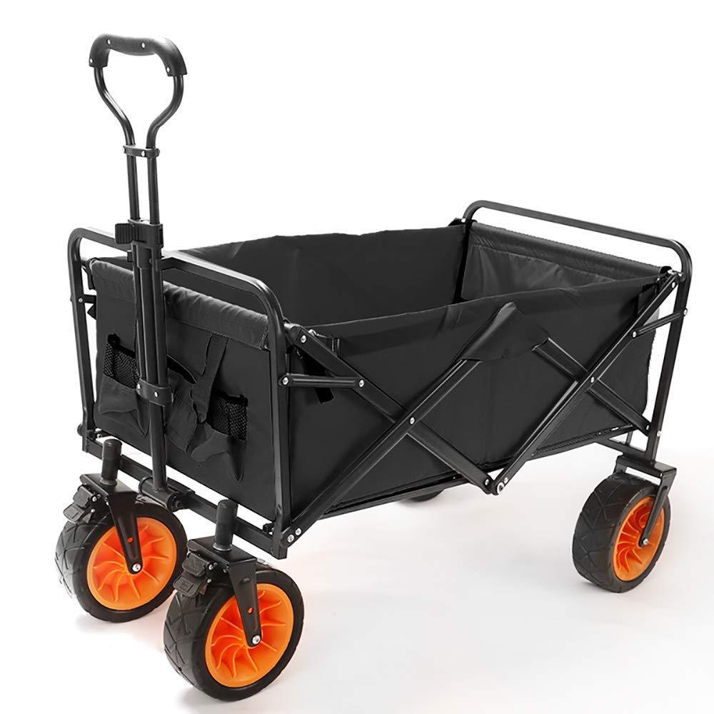 Li hand-trucks LWOO Folding Garden Cart Beach Shopping Cart/Mass Storage/Widening Tire + Brake/Load: 80 Kg/Black (Color : Black) by Li hand-trucks