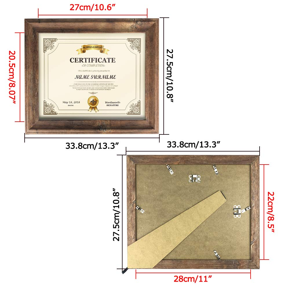 Artsay 8.5x11 Certificate Document Diploma Frame Rustic Distressed Picture Frames 8.5 x 11 Set, Wall Hanging and Tabletop, 2 Pack, Brown by Artsay (Image #3)