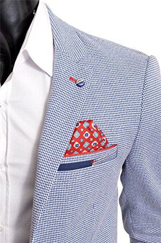 Pour 9 Veste Slim Formel Motif Décontractée À Couleurs Coton Blazer Homme Fit Chevrons Bleu 8I1rqwv15x