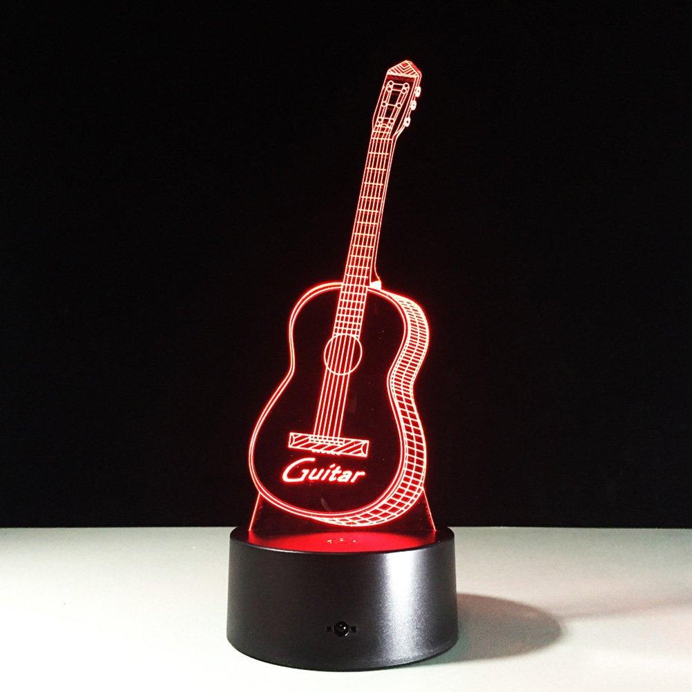 PIXNOR LED 3d Lampe Illusion, 3D nahezu Leuchten LED USB-Touch mit 7 Farbe optische Täuschung Schreibtisch Leuchten für Kinder nach Hause Raumdekoration (Gitarre)