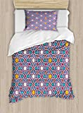 Ambesonne Arabian Duvet Cover Set Twin Size, Geometric Lines and Stars Based on Traditional Oriental Eastern Artistic World, Decorative 2 Piece Bedding Set with 1 Pillow Sham, Multicolor
