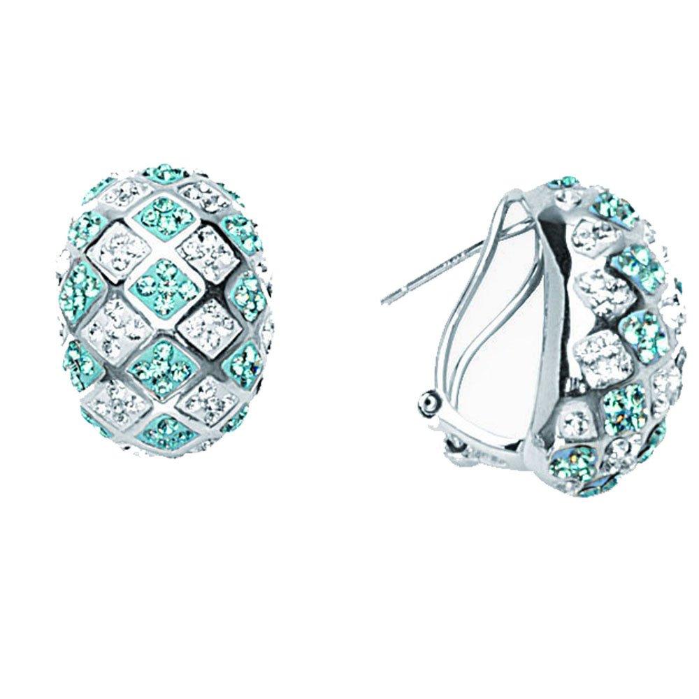 Hoop Earrings Bold Checkerboard Ear//Aquamarine//Clear
