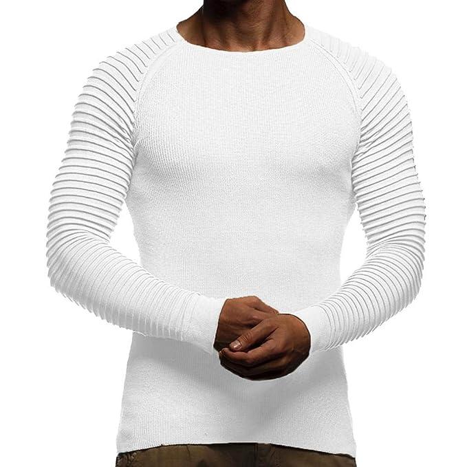 Yvelands Drape Knit Camiseta de Manga Larga Hombre Guapo Personalidad Moda Casual Color sólido a Rayas
