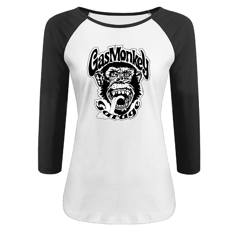 6e602fca Women's Gas Monkey Garage 100% Cotton 3/4 Sleeve Athletic Baseball Raglan  Shirt lovely