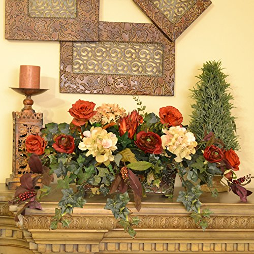 Rust, Burgundy and Cream Floral and Ivy Ledge Plant
