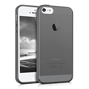kwmobile Funda compatible con Apple iPhone SE / 5 / 5S - Carcasa de [TPU] para móvil - Cover [trasero] en [negro / transparente]