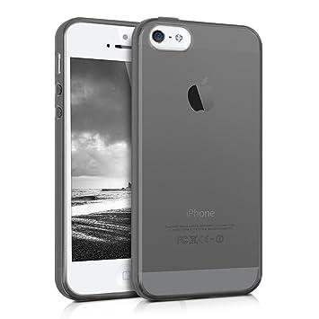 kwmobile Funda compatible con Apple iPhone SE / 5 / 5S - Carcasa de [TPU] para móvil - Cover [trasero] en [negro / transparente]