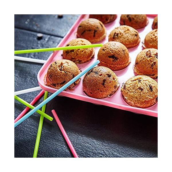 Lumaland Cuisine Teglia/Stampo da Forno in silicone da 20 Cake-pops o stick cake, inclusi 40 bastoncini ca. 22,5 x 18,5… 5 spesavip