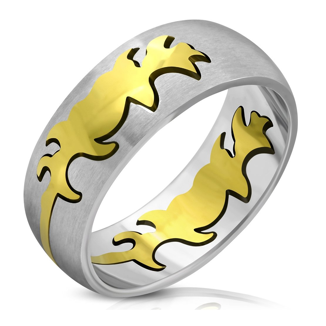 Stainless Steel Matte Finished 2 Color Butterfly Half-Round Band Ring