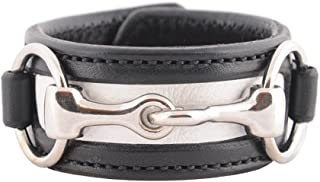 product image for Equestrian Horse Snaffle Bit Two-Tone Leather Cuff Bracelet