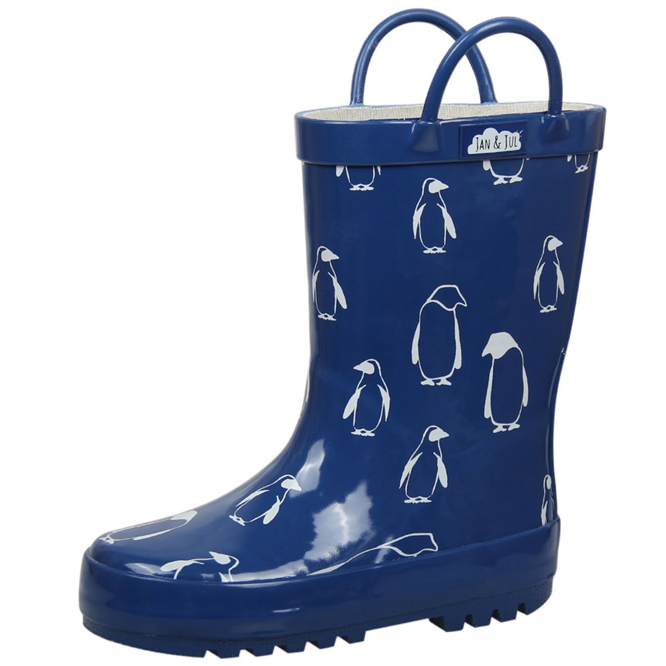 JAN & JUL Natural Rubber Wellies Unisex Toddler Kids (Toddler Size 7 with Handles, Penguin)