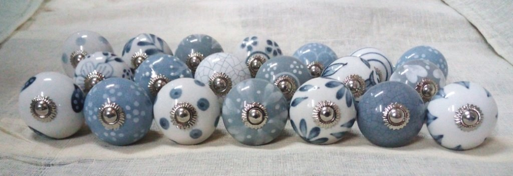 Artncraft 24 Knobs Grey & White Hand Painted Ceramic Knobs Cabinet Drawer Pull