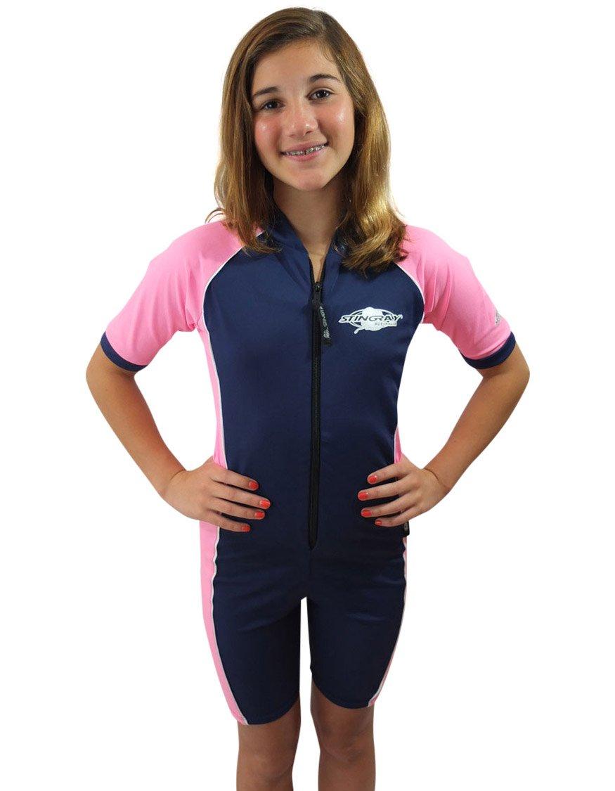 Stingray Australia Girls Navy/Pink UV Sun Protective Rashguard Swimsuit - UPF/SPF Protection Suit (4) by Stingray Australia