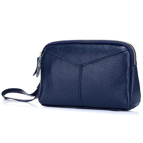DcSpring Clutch Piel Genuino Carteras de Mano Cartera Elegante Cremallera para Mujer (Azul)