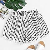 vermers Womens Short Pants Stripe Printing Mid Waist Loose Elastic Waist Ringer Shorts (XL, White)