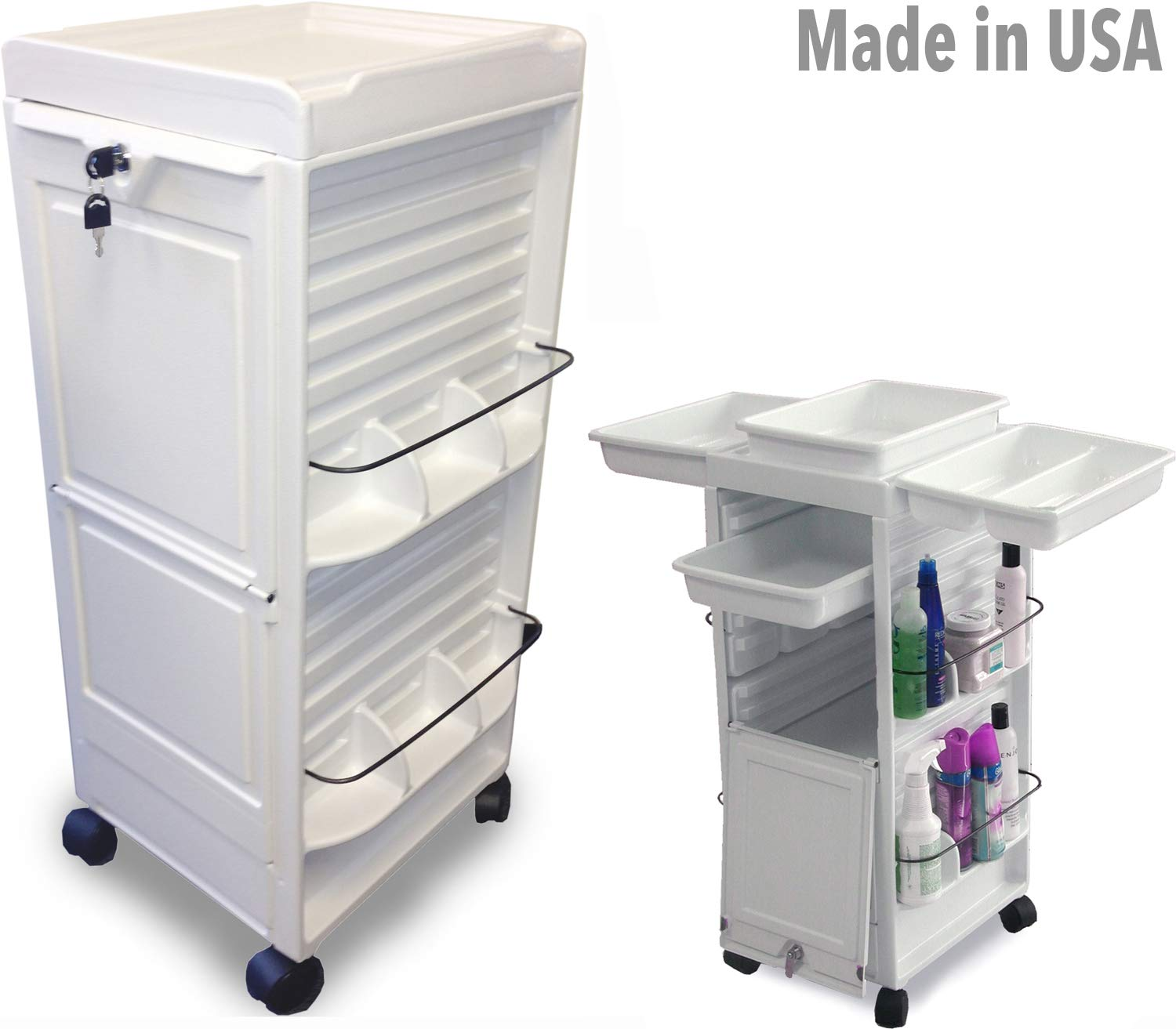 N20E-P M Medical Dental Physician White Lockable Roll-About Utility Cart Made in USA