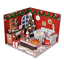 Samber DIY Dollhouse Assembled Small House Model Miniature House Cute Room With Furnitiure Creative Gift Toy Artwork Birthday Christmas Gift (with LED Lights + Battery Box Switch + Dust Cover)/Style:A