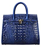 PIJUSHI Crocodile Handbags And Purses Satchel Office Padlock Handbag For Women 22130 blue