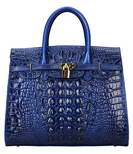 Pijushi Embossed Crocodile Purse Genuine Leather Satchel Handbags Office Padlock Bag 22130 (Big Size, Blue) by PIJUSHI