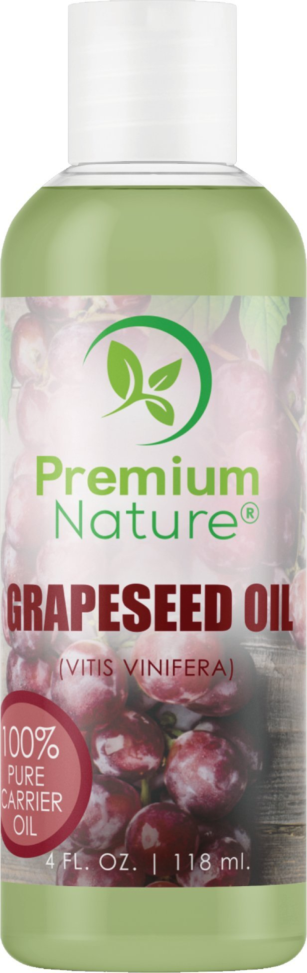 Grapeseed Oil Natural Carrier Oil - 4 oz Light & Silky Moisturizer Rich In Omega Fatty Acids Prevents Premature Aging Suits All Skin Types - for Skin Hair & Nails Premium Nature