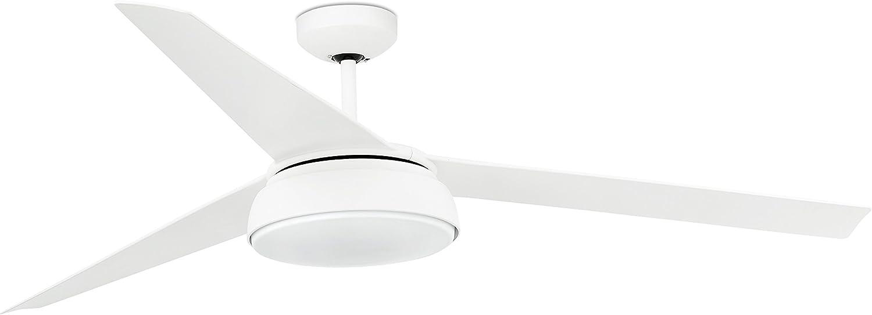 Faro Barcelona 33549 - VULCANO Ventilador de techo con luz (bombilla incluida) LED, 25W, cuerpo de acero, palas abs blancas y difusor de cristal opal, color blanco ...