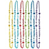Amscan Happy Birthday Rainbow Necklaces, Pack of 6  32-Inch, Multicolored