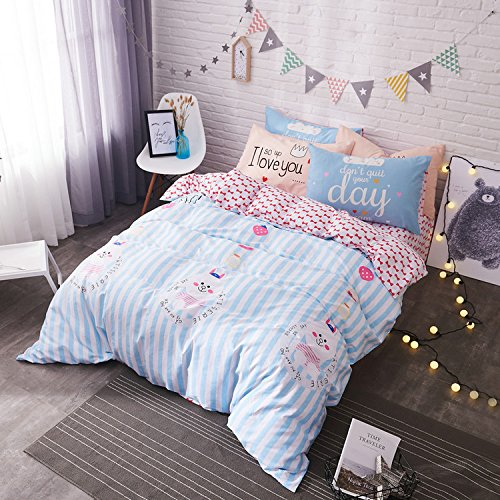 WarmGo Bedding Set Full/Queen Size for Adult Kids Cute Rabbit Pattern Duvet Cover Sets 4 Piece Duvet Cover Set-1 PC Duvet Cover+1 PC Flat Sheet+2 Personality Pillowcase by WarmGo