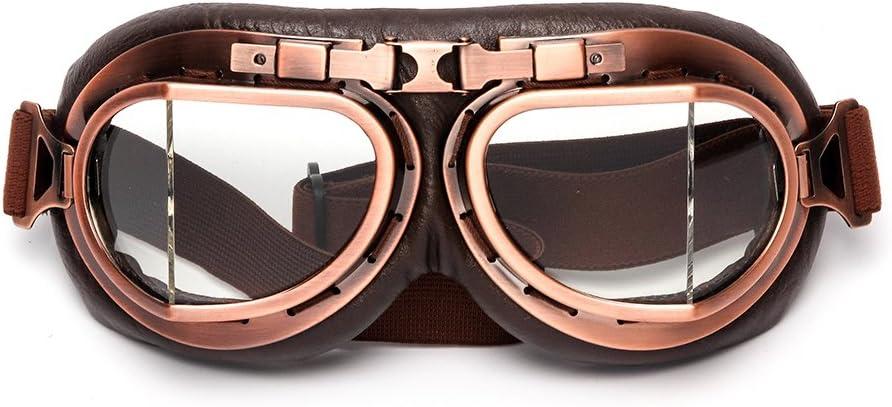 League Co League Co Retrodesign Motorradbrille Pilotenbrille Schutzbrille Fliegerbrille Helm Brillen Transparent Auto