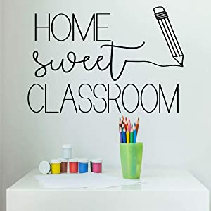 Classroom Decoration – 'Home Sweet Classroom' and Pencil Silhouette -Vinyl Wall Decal - Back to School Gift for Any Teacher
