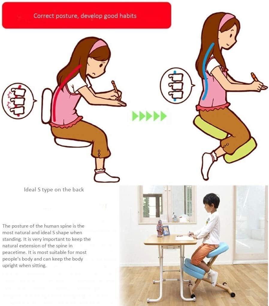 ZHJING Ergonomischer Bürostuhl, ergonomischer orthopädischer Kniestuhl zur Reduzierung von Schmerzen im unteren Rücken weinrot Rosarot