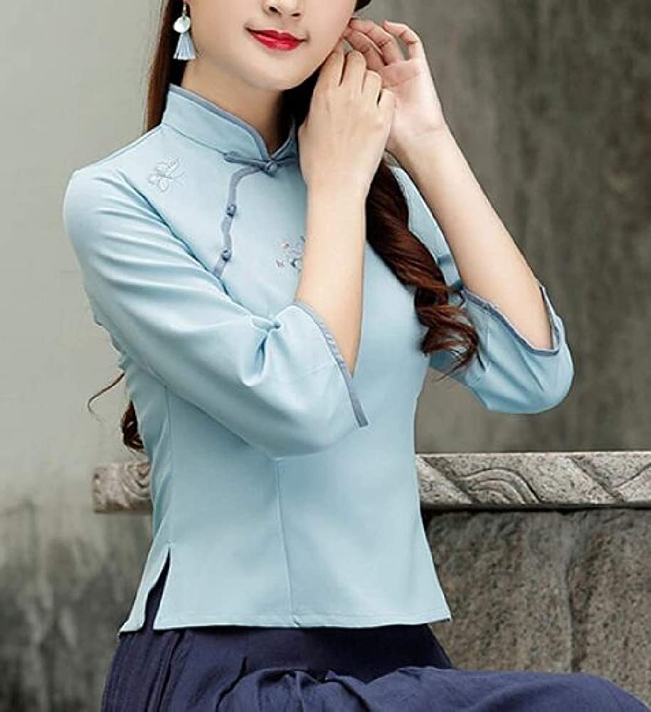 securiuu Camisa China de Manga Larga para Mujer Azul Azul US XXL: Amazon.es: Ropa y accesorios