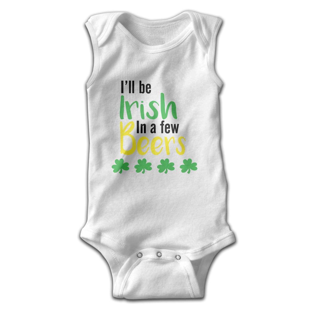 Newborn Baby Boys Rompers Sleeveless Cotton Onesie,Ill Be Irish in A Few Beers Bodysuit Summer Pajamas