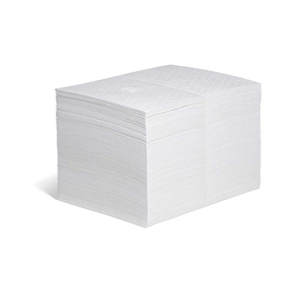 New Pig Oil Only Absorbent Mat Pad, Heavyweight, 28 oz Absorbency, 20'' L x 15'' W, White, 100 Pads, MAT403