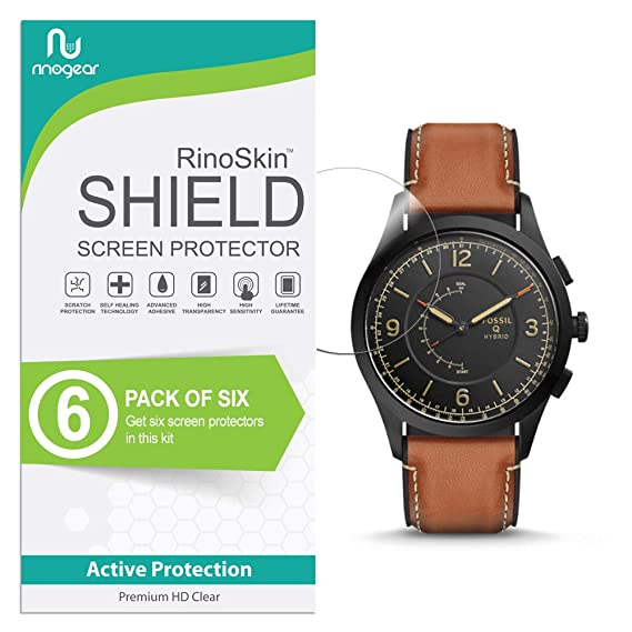(6-Pack) RinoGear Fossil Hybrid Smartwatch Q Activist Screen Protector Case Friendly Screen Protector for Fossil Hybrid Smartwatch Q Activist ...