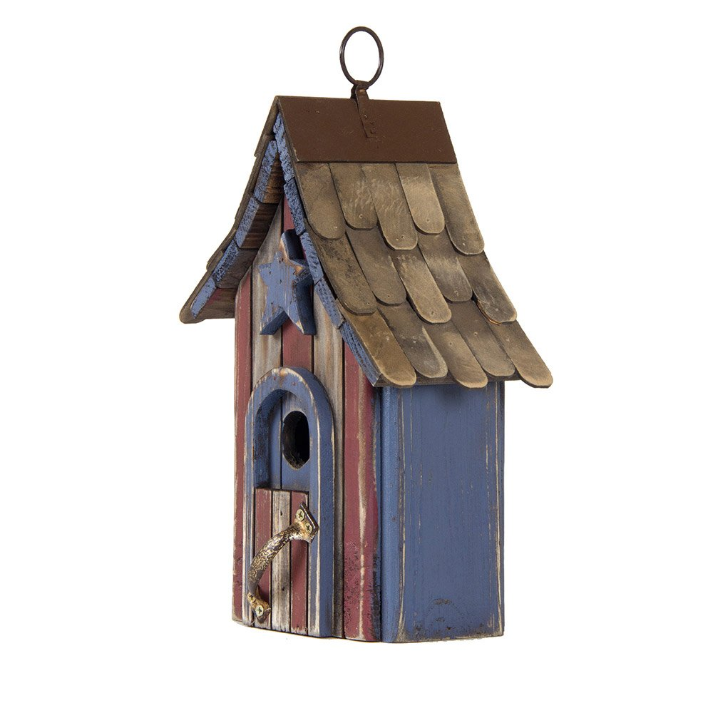 Glitzhome USA Patriotic Hand Painted Wood Birdhouse Single Roof, 10.04""