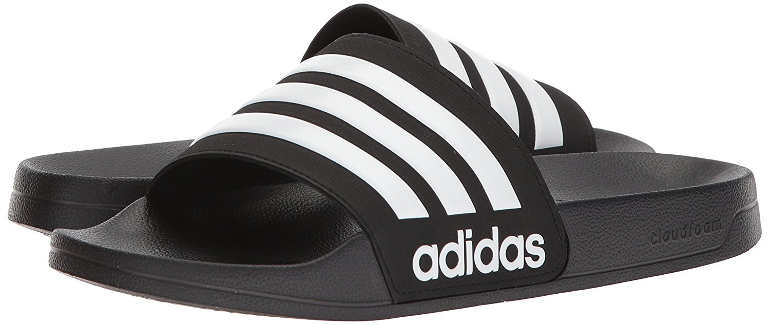 adidas Men's Adilette Shower Slide Sandal, Black/White/Black, 10 M US by adidas