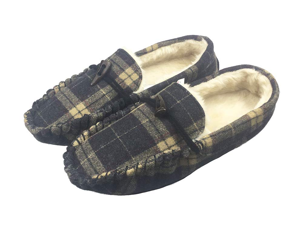 Men's Comfortable Wool Blend Plush Lined Shoes Slip On Moccasin Slippers US 9 Black and Beige